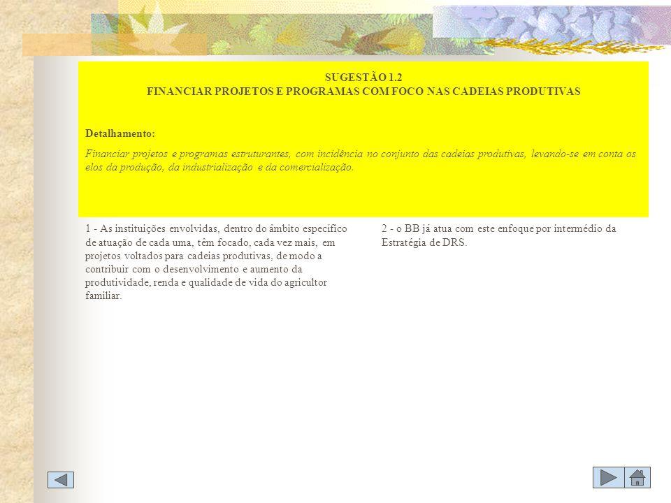 SUGESTÃO 1.2 FINANCIAR PROJETOS E PROGRAMAS COM FOCO NAS CADEIAS PRODUTIVAS