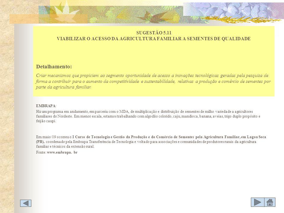 SUGESTÃO 5.11 VIABILIZAR O ACESSO DA AGRICULTURA FAMILIAR A SEMENTES DE QUALIDADE