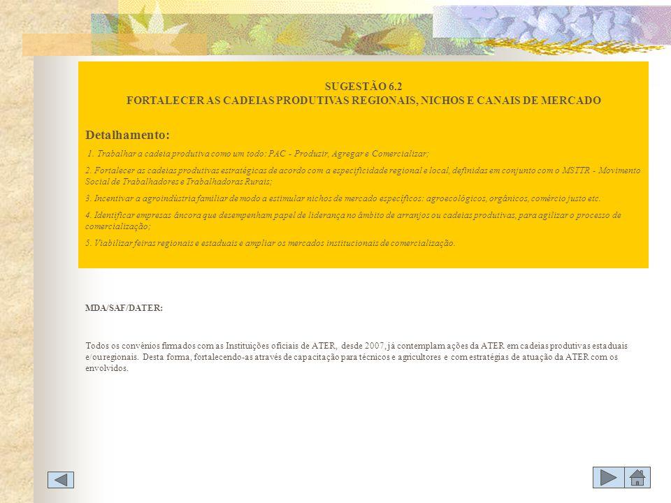 SUGESTÃO 6.2 FORTALECER AS CADEIAS PRODUTIVAS REGIONAIS, NICHOS E CANAIS DE MERCADO
