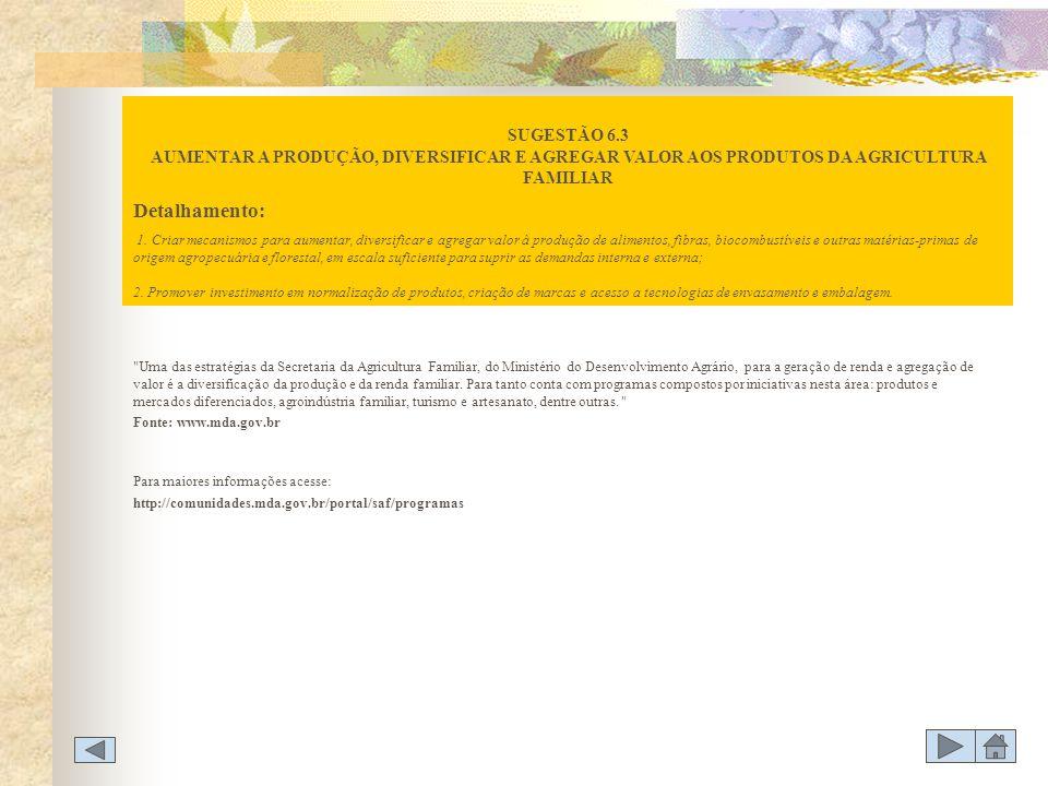 SUGESTÃO 6.3 AUMENTAR A PRODUÇÃO, DIVERSIFICAR E AGREGAR VALOR AOS PRODUTOS DA AGRICULTURA FAMILIAR