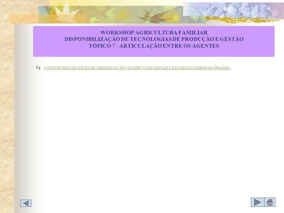 WORKSHOP AGRICULTURA FAMILIAR DISPONIBILIZAÇÃO DE TECNOLOGIAS DE PRODUÇÃO E GESTÃO TÓPICO 7 - ARTICULAÇÃO ENTRE OS AGENTES