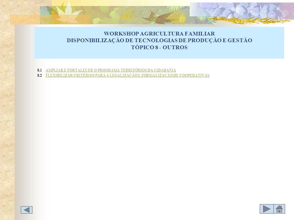 WORKSHOP AGRICULTURA FAMILIAR DISPONIBILIZAÇÃO DE TECNOLOGIAS DE PRODUÇÃO E GESTÃO TÓPICO 8 - OUTROS