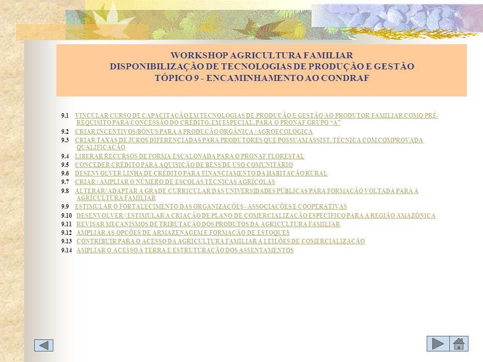 WORKSHOP AGRICULTURA FAMILIAR DISPONIBILIZAÇÃO DE TECNOLOGIAS DE PRODUÇÃO E GESTÃO TÓPICO 9 - ENCAMINHAMENTO AO CONDRAF
