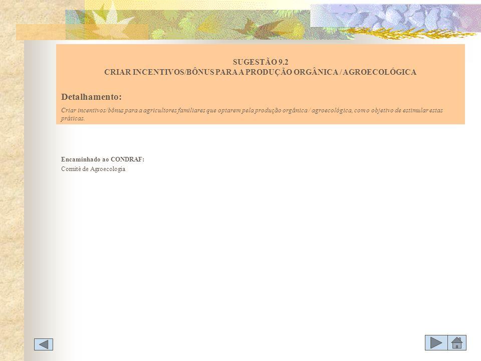 SUGESTÃO 9.2 CRIAR INCENTIVOS/BÔNUS PARA A PRODUÇÃO ORGÂNICA / AGROECOLÓGICA
