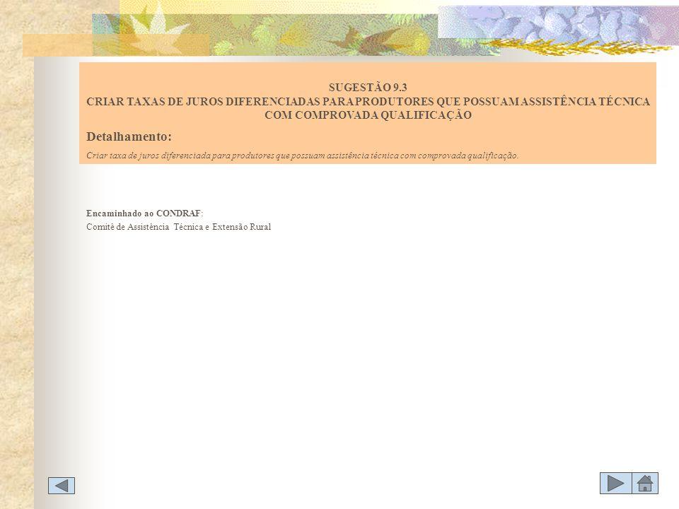 SUGESTÃO 9.3 CRIAR TAXAS DE JUROS DIFERENCIADAS PARA PRODUTORES QUE POSSUAM ASSISTÊNCIA TÉCNICA COM COMPROVADA QUALIFICAÇÃO