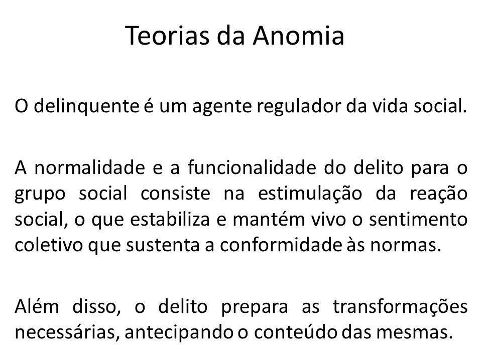 Teorias da Anomia O delinquente é um agente regulador da vida social.