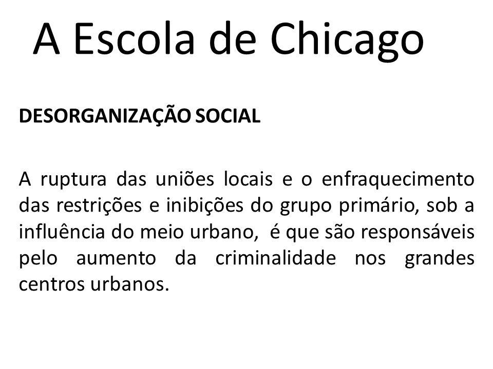 A Escola de Chicago DESORGANIZAÇÃO SOCIAL