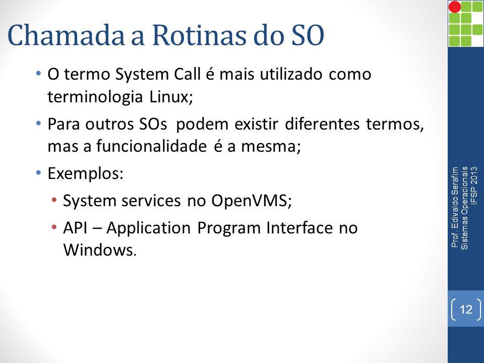 Chamada a Rotinas do SO O termo System Call é mais utilizado como terminologia Linux;