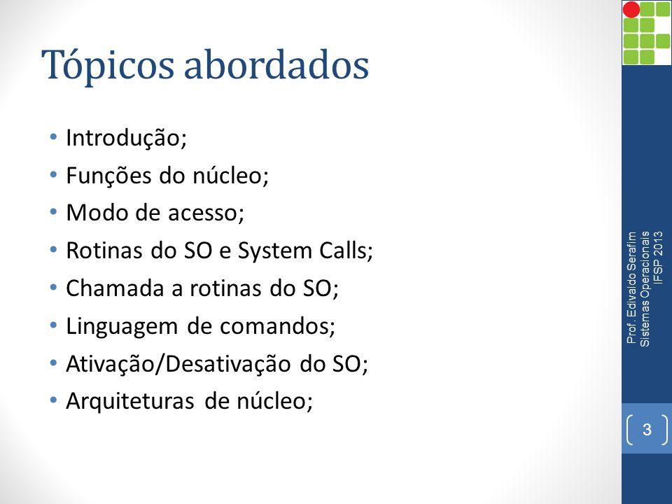 Tópicos abordados Introdução; Funções do núcleo; Modo de acesso;