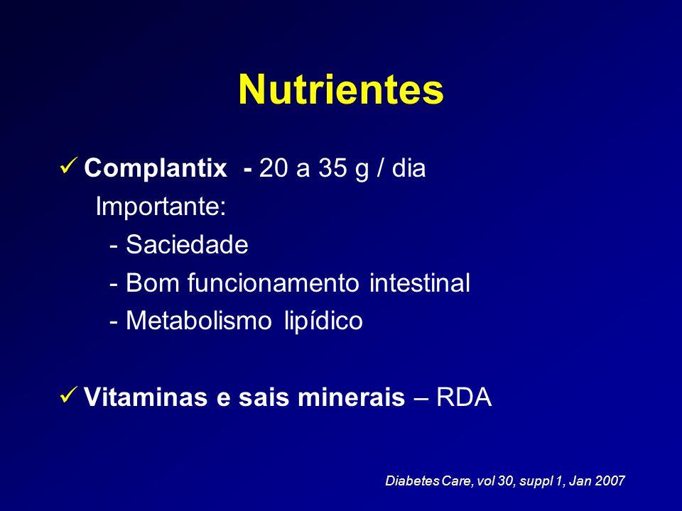 Nutrientes Complantix - 20 a 35 g / dia Importante: - Saciedade