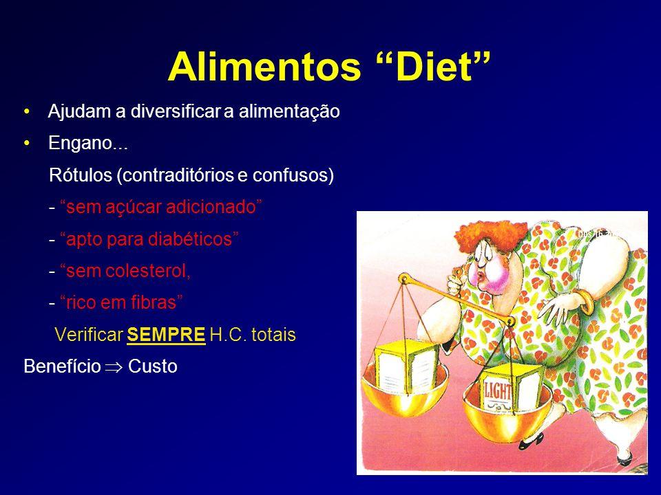 Alimentos Diet Ajudam a diversificar a alimentação Engano...