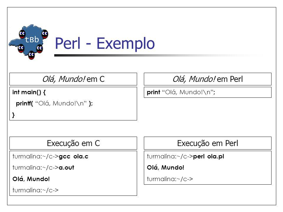 Perl - Exemplo Olá, Mundo! em C Olá, Mundo! em Perl Execução em C