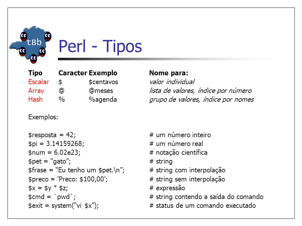Perl - Tipos Tipo Caracter Exemplo Nome para: