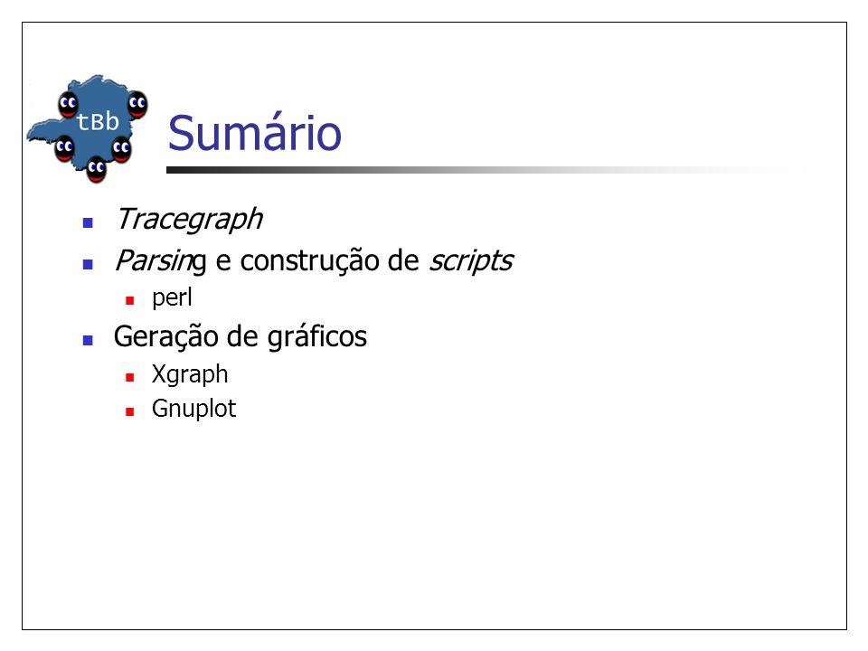 Sumário Tracegraph Parsing e construção de scripts Geração de gráficos