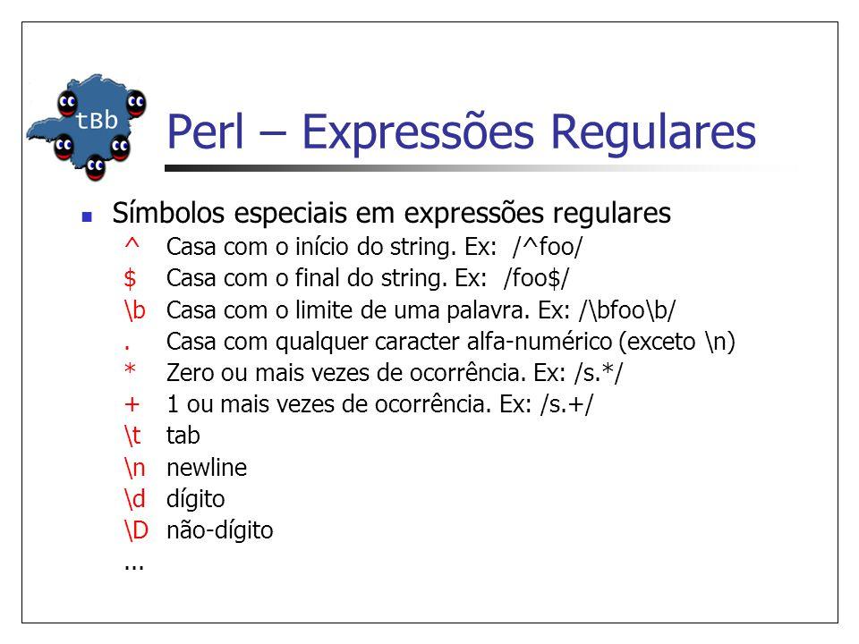 Perl – Expressões Regulares