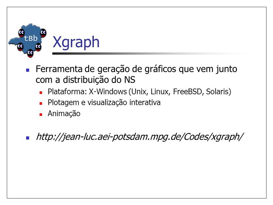 Xgraph Ferramenta de geração de gráficos que vem junto com a distribuição do NS. Plataforma: X-Windows (Unix, Linux, FreeBSD, Solaris)