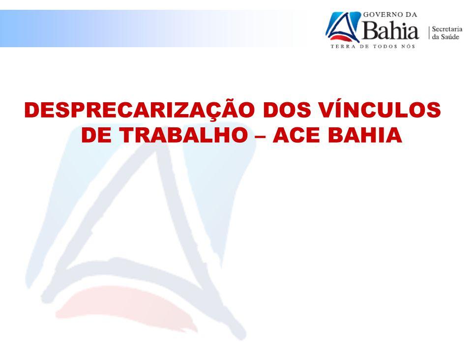 DESPRECARIZAÇÃO DOS VÍNCULOS DE TRABALHO – ACE BAHIA