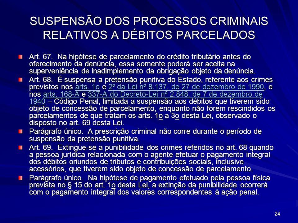 SUSPENSÃO DOS PROCESSOS CRIMINAIS RELATIVOS A DÉBITOS PARCELADOS