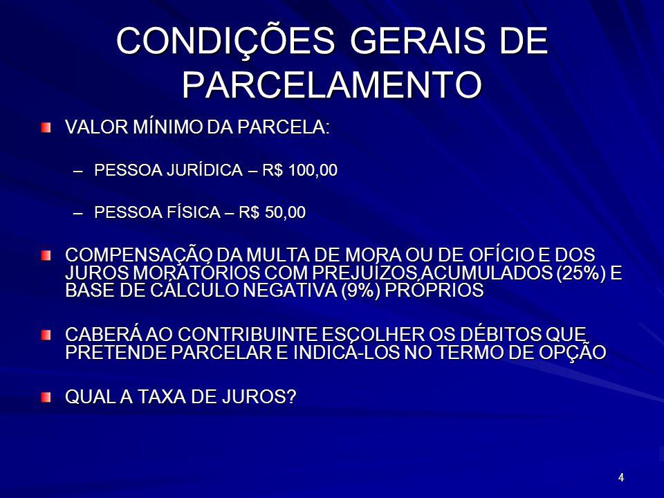 CONDIÇÕES GERAIS DE PARCELAMENTO