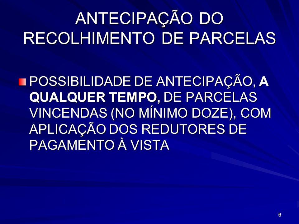 ANTECIPAÇÃO DO RECOLHIMENTO DE PARCELAS