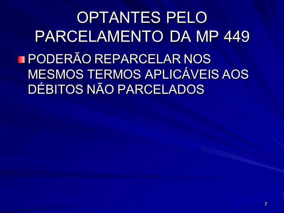 OPTANTES PELO PARCELAMENTO DA MP 449