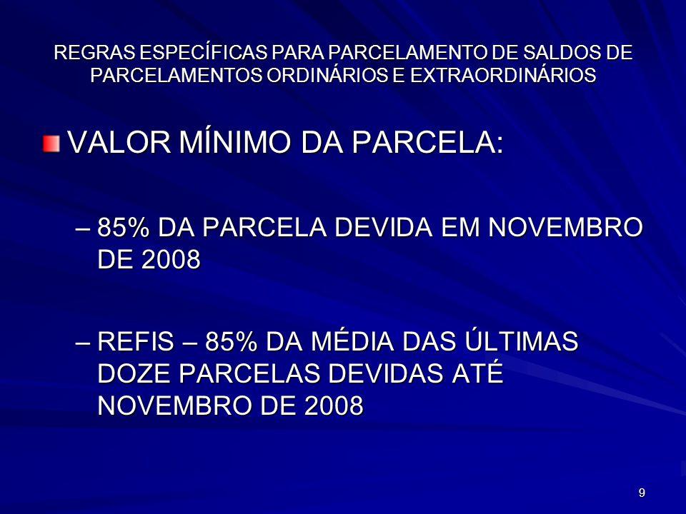 VALOR MÍNIMO DA PARCELA: