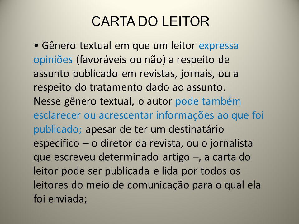CARTA DO LEITOR