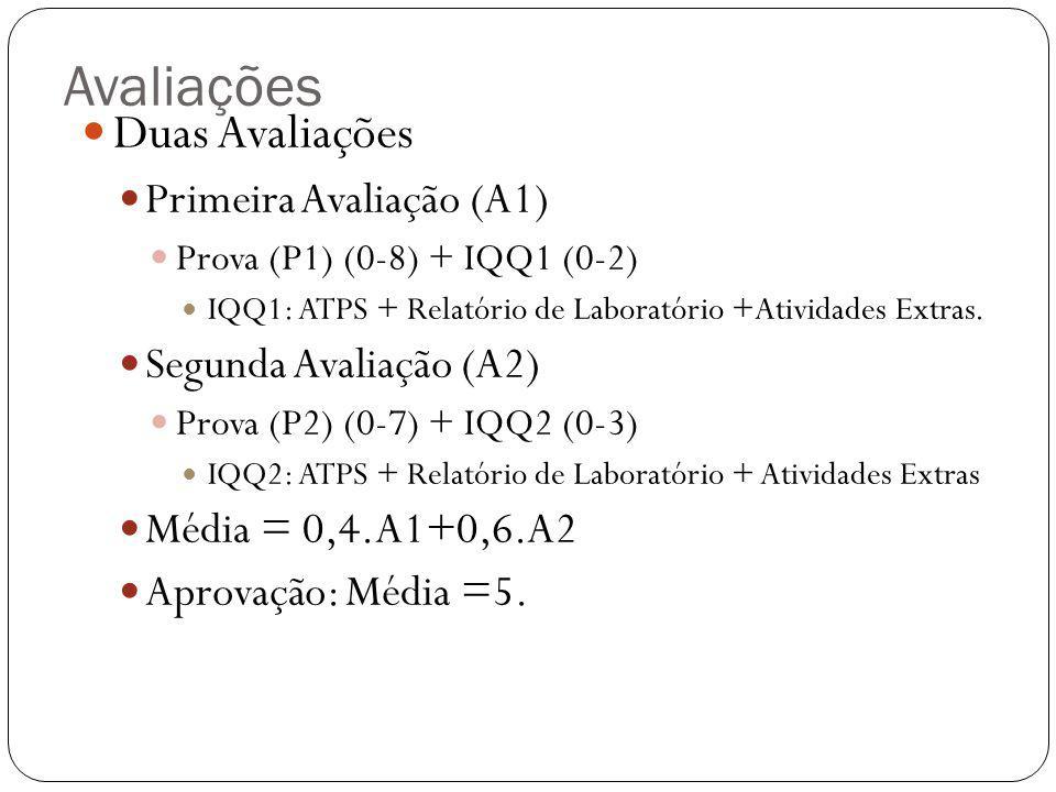 Avaliações Duas Avaliações Primeira Avaliação (A1)