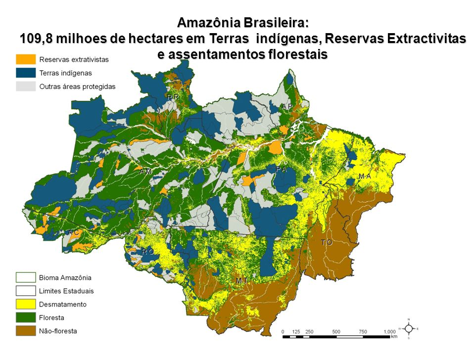 Amazônia Brasileira: 109,8 milhoes de hectares em Terras indígenas, Reservas Extractivitas e assentamentos florestais.