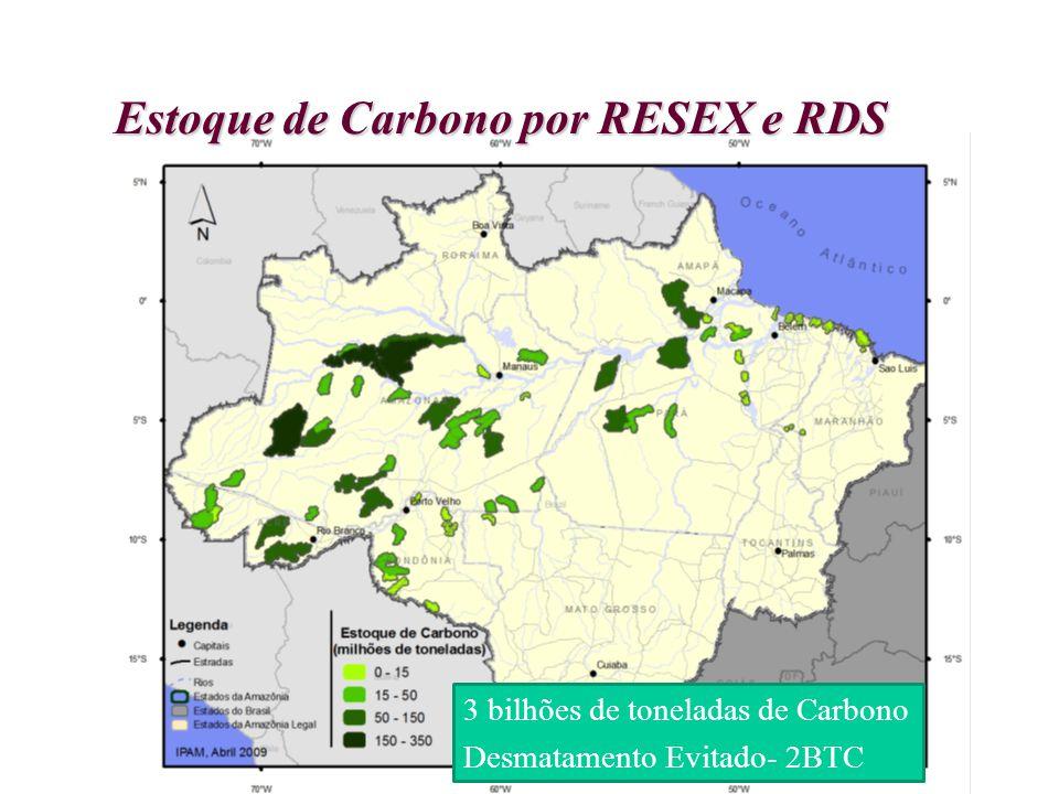 Estoque de Carbono por RESEX e RDS