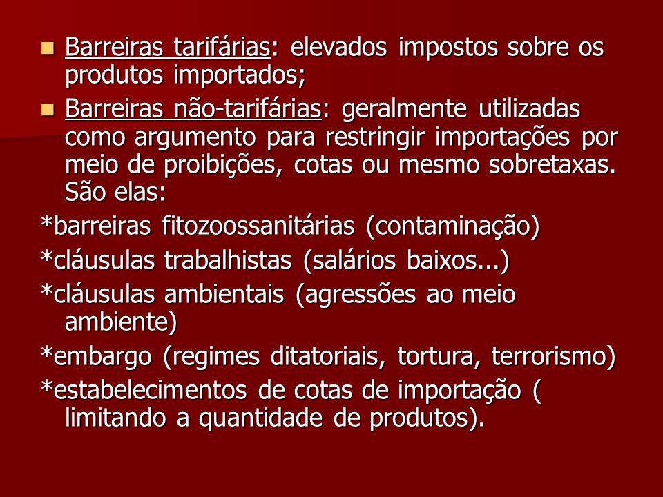 Barreiras tarifárias: elevados impostos sobre os produtos importados;