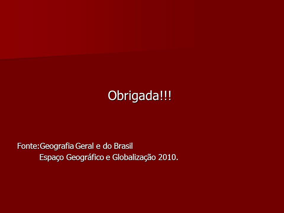 Obrigada!!! Fonte:Geografia Geral e do Brasil
