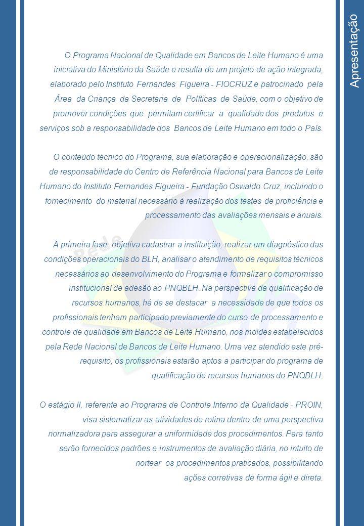 Apresentação O Programa Nacional de Qualidade em Bancos de Leite Humano é uma.