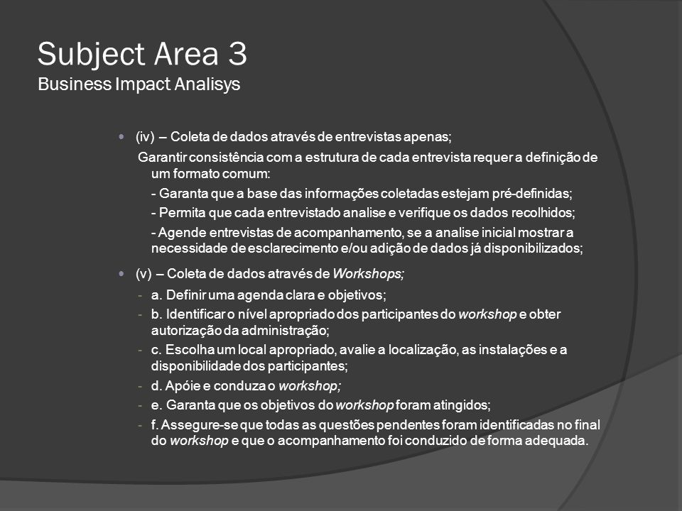 Subject Area 3 Business Impact Analisys
