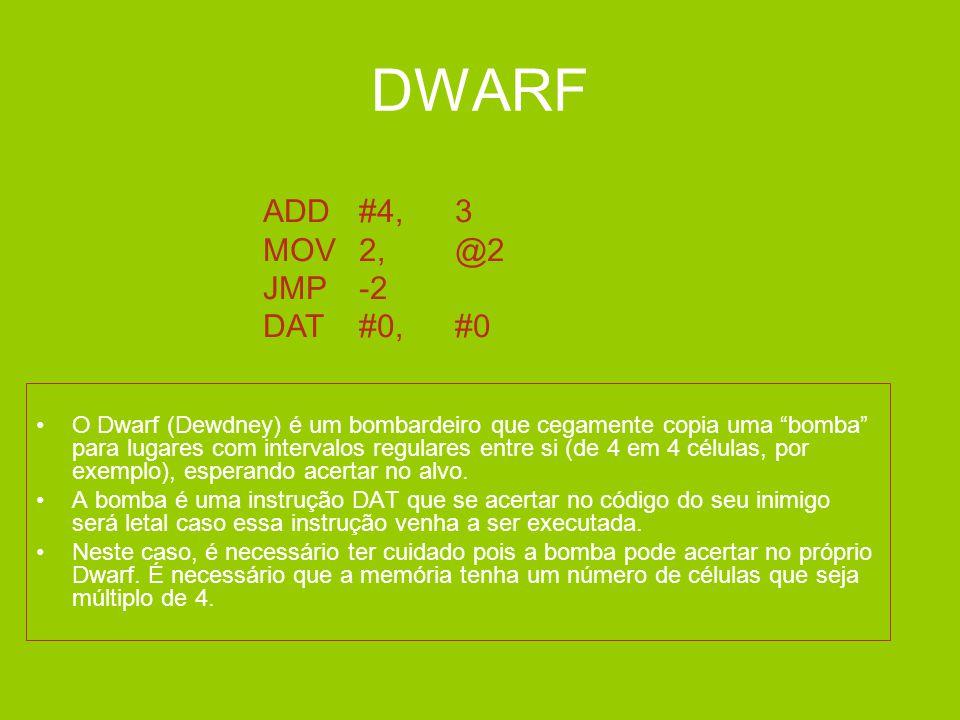 DWARF ADD #4, 3 MOV 2, @2 JMP -2 DAT #0, #0