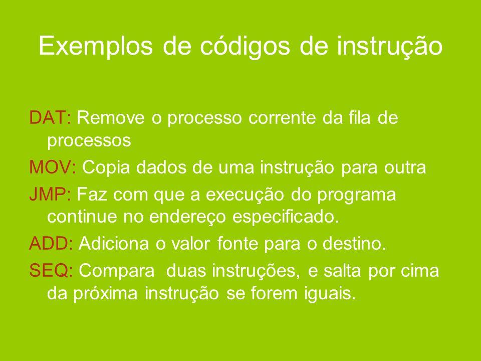 Exemplos de códigos de instrução