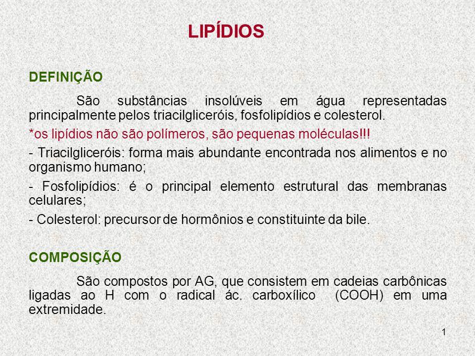 LIPÍDIOS DEFINIÇÃO. São substâncias insolúveis em água representadas principalmente pelos triacilgliceróis, fosfolipídios e colesterol.