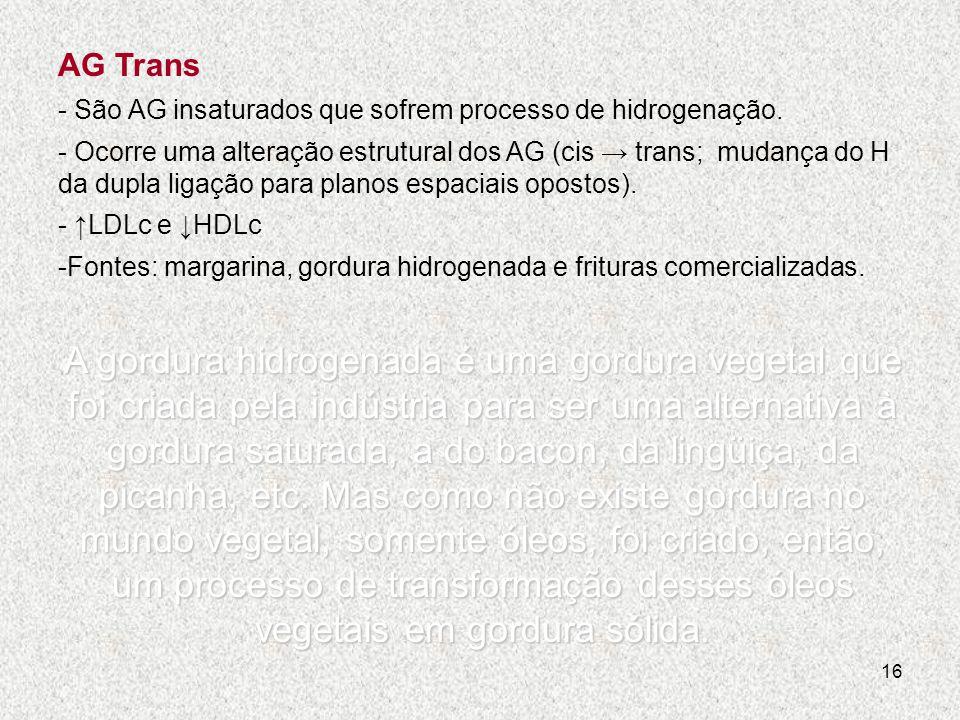 AG Trans - São AG insaturados que sofrem processo de hidrogenação.