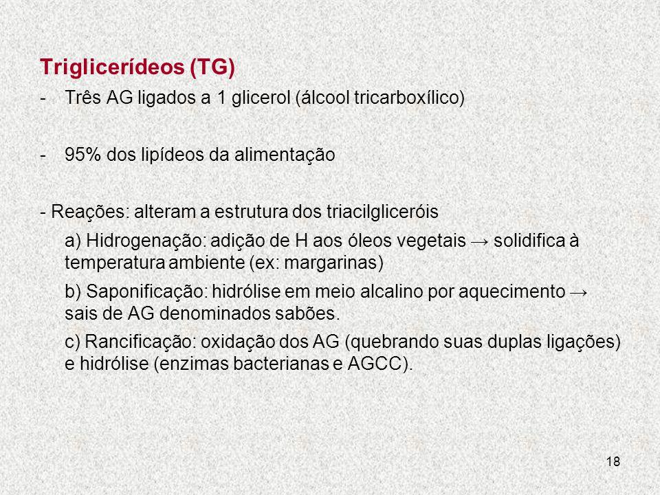 Triglicerídeos (TG) Três AG ligados a 1 glicerol (álcool tricarboxílico) 95% dos lipídeos da alimentação.
