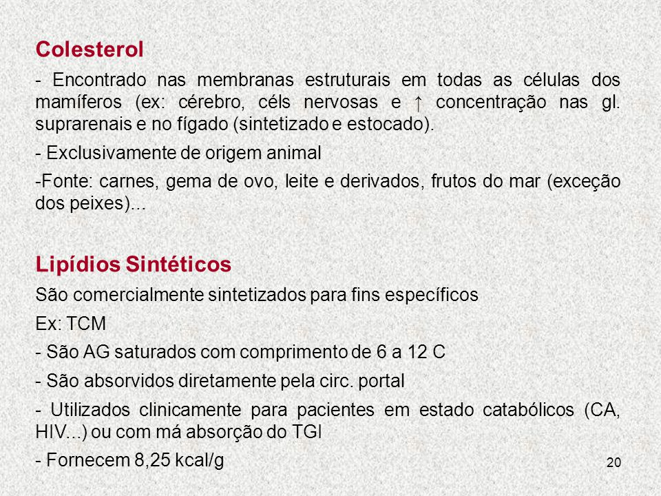 Colesterol Lipídios Sintéticos