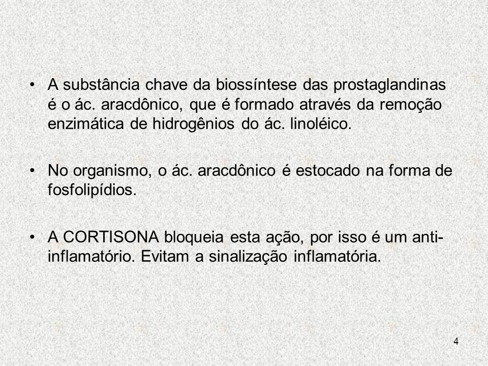 A substância chave da biossíntese das prostaglandinas é o ác