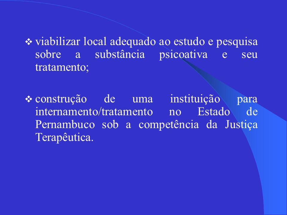 viabilizar local adequado ao estudo e pesquisa sobre a substância psicoativa e seu tratamento;