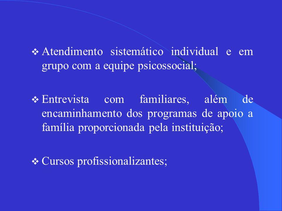 Atendimento sistemático individual e em grupo com a equipe psicossocial;