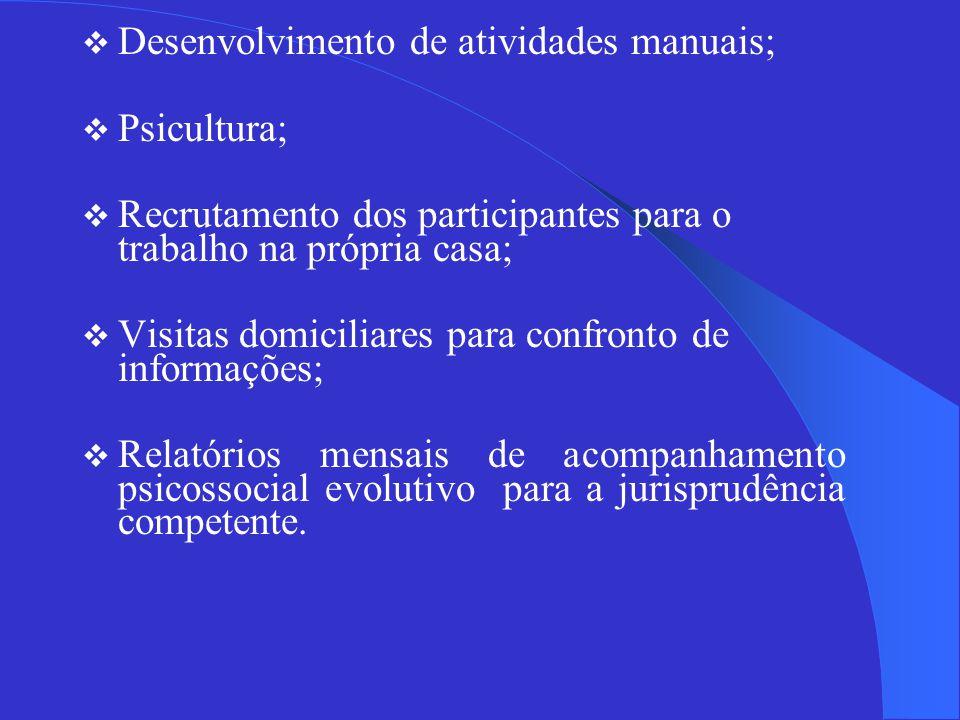 Desenvolvimento de atividades manuais;