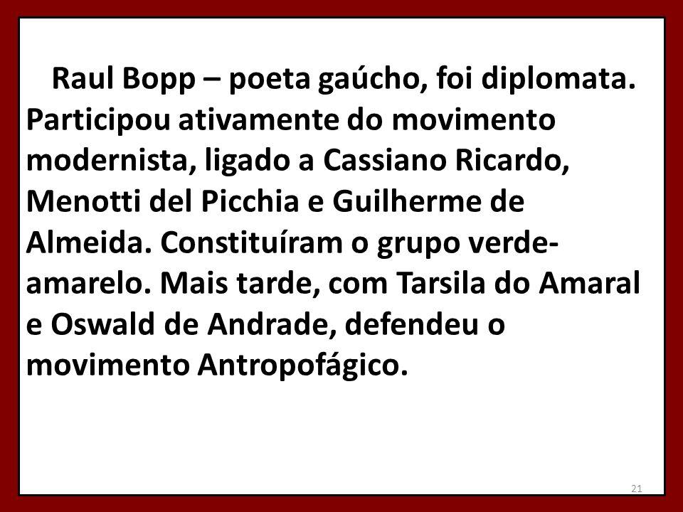 Raul Bopp – poeta gaúcho, foi diplomata