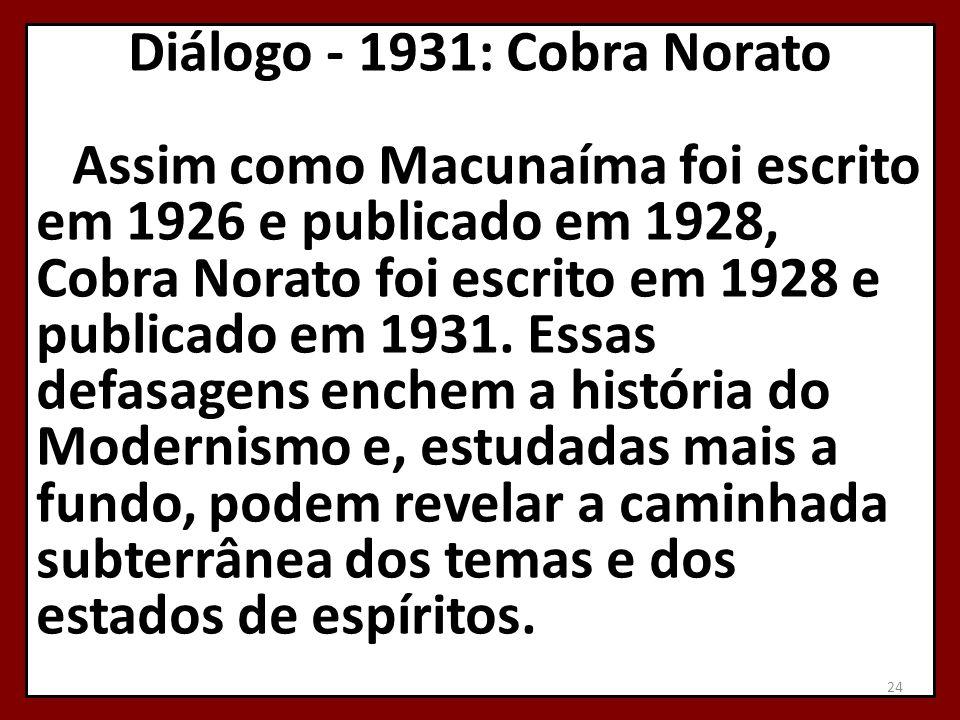 Diálogo - 1931: Cobra Norato Assim como Macunaíma foi escrito em 1926 e publicado em 1928, Cobra Norato foi escrito em 1928 e publicado em 1931.