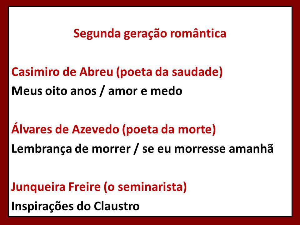 Segunda geração romântica Casimiro de Abreu (poeta da saudade) Meus oito anos / amor e medo Álvares de Azevedo (poeta da morte) Lembrança de morrer / se eu morresse amanhã Junqueira Freire (o seminarista) Inspirações do Claustro