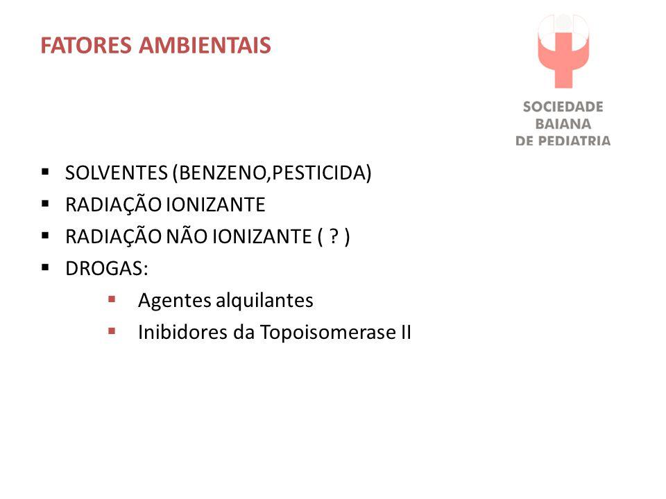 Fatores Ambientais SOLVENTES (BENZENO,PESTICIDA) RADIAÇÃO IONIZANTE