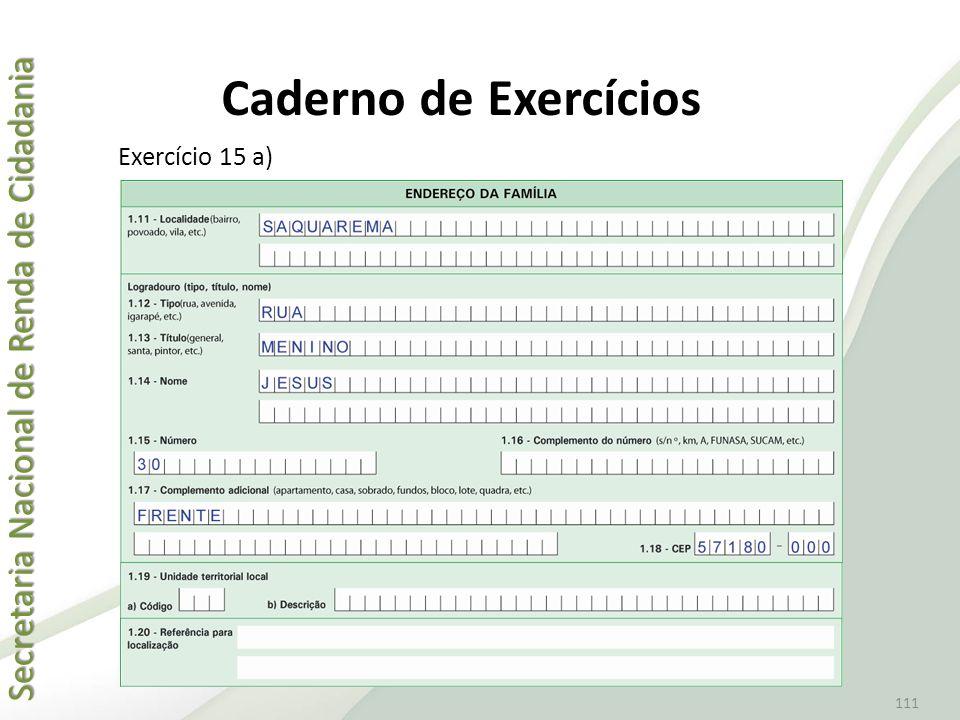 Caderno de Exercícios Exercício 15 a)