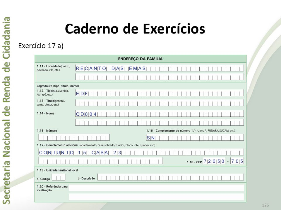 Caderno de Exercícios Exercício 17 a)
